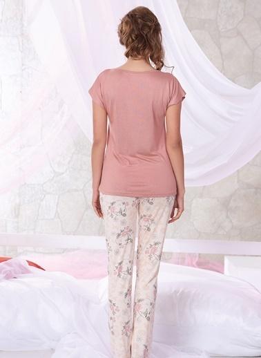 Sevim Dantelli Pijama Takım Kiremit